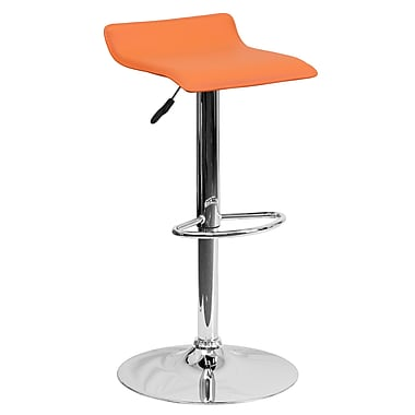 Flash Furniture Adjustable-Height Contemporary Vinyl Barstool, Orange with Chrome Base (DS801CONTORG)