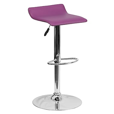 Flash Furniture Contemporary Purple Vinyl Adjustable Height Barstool, Chrome Base (DS801CONTPUR)