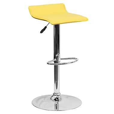 Flash Furniture Adjustable-Height Contemporary Yellow Vinyl Barstool, Chrome Base (DS801CONTYEL)
