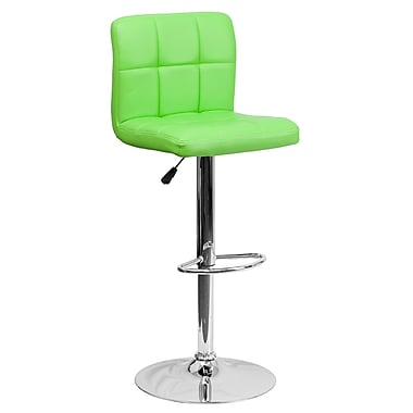 Flash Furniture Adjustable-Height Contemporary Barstool, Green Quilted Vinyl, Chrome Base (DS810MODGN)
