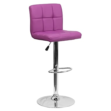 Flash Furniture – Tabouret de bar matelassé ajustable en vinyle violet et à pied chromé (DS810MODPUR)