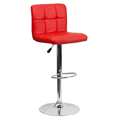 Flash Furniture Contemporary Quilted Vinyl Adjustable Height Barstool, Red with Chrome Base (DS810MODRED)