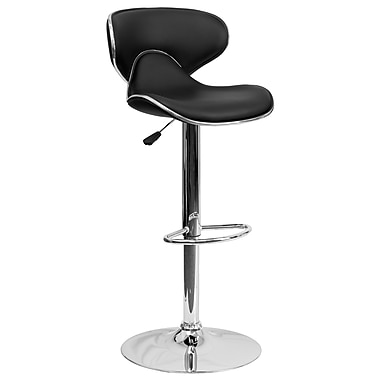 Flash Furniture Contemporary Cozy Mid-Back Vinyl Adjustable Height Barstool, Black with Chrome Base (DS815BK)