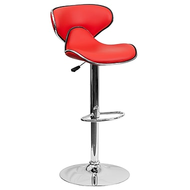 Flash Furniture Adjustable-Height Contemporary Cozy Mid-Back Vinyl Barstool, Red with Chrome Base (DS815RED)
