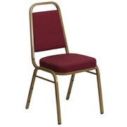 Flash Furniture  Hercules Series Trapezoidal Back Stacking Banquet Chair, Burgundy Patterned Fabric, Gold Frame  (FDBHF1AG0847)