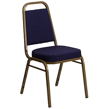 Flash Furniture Hercules Trapezoidal-Back Stacking Banquet Chair, Navy-Pattern Fabric, 2.5'' Seat, Gold Frame (FDBHF1AG0849)
