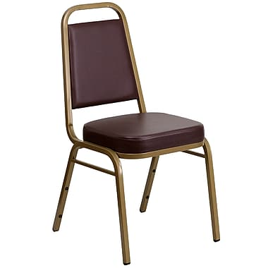 Flash Furniture Hercules Trapezoidal-Back Stacking Banquet Chair, Brown Vinyl 2.5'' Seat, Gold Frame (FDBHF1AGBN)