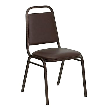 Flash Furniture Hercules Series Trapezoidal Back Stacking Banquet Chair, Brown Vinyl, 1.5'' Seat, Copper Vein Frame (FDBHF2BN)