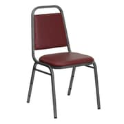 Flash Furniture  Hercules Trapezoid-Back Stacking Banquet Chair, Burgundy Vinyl, 1.5'' Seat, Silver Vein Frame (FDBHF2BYVYL)