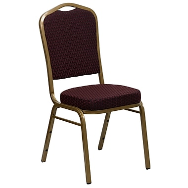 Flash Furniture Hercules Series Crown Back Stacking Banquet Chair, Burgundy Patterned Fabric and Gold Frame, 2.5