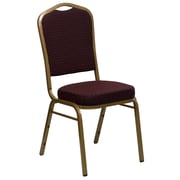 """Flash Furniture  Hercules Series Crown Back Stacking Banquet Chair, Burgundy Patterned Fabric and Gold Frame, 2.5""""D Seat"""