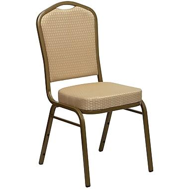 Chaise banquet empilable HERCULES à dossier couronne, siège de 2,5 po, doré, tissu beige, 4/bte (FDC01AGH20124E)