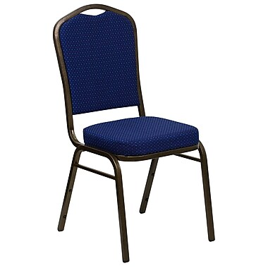 Flash Furniture Hercules Crown-Back Stacking Chair, Navy Blue Patterned Fabric, 2.5'' Seat, Gold Vein Frame (FDC01GV208)