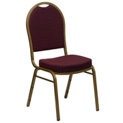 Flash Furniture  Hercules Dome-Back Stacking Banquet Chair, Burgundy Patterned Fabric 2.5'' Seat, Gold Frame (FDC03AGEFE1679)