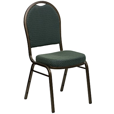 Flash Furniture Hercules Dome-Back Stacking Banquet Chair, Green Patterned Fabric, 2.5'' Seat, Gold Vein Frame (FDC03GV4003)