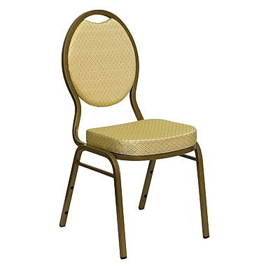 Flash Furniture Hercules Stacking Banquet Chair, Teardrop Back, Beige Patterned Fabric, 2.5'' Seat, Gold Frame (FDC04AG2811)