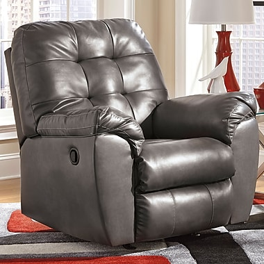 Flash Furniture Signature Design by Ashley Alliston Rocker Recliner in Gray DuraBlend (FSD2399RECGRY)