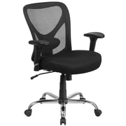 Flash Furniture Hercules Series Big and Tall Mesh Swivel Task Chair, Black with Adjustable Back and Arms (GO2032)