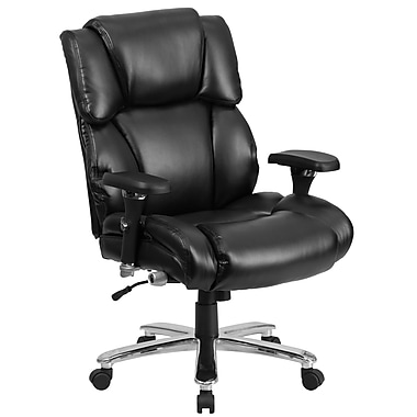 Flash Furniture GO2149LEA Hercules 24/7 Intensive Use Big and Tall Leather Executive Swivel Chair, Lumbar Support, Black
