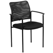 Flash Furniture Mesh Comfortable Stackable Steel Side Chair with Arms, Black (GO5162)