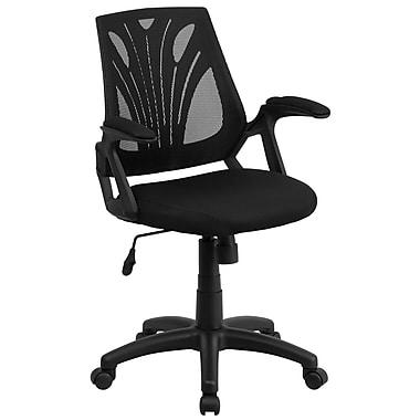 Flash Furniture – Chaise de travail pivotante noire avec dossier à mi-hauteur en filet et siège rembourré (GOWY82)