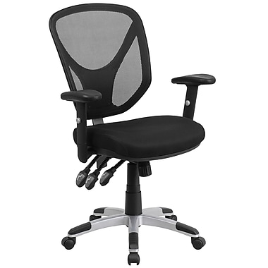 Chaise de travail pivotante à dossier mi-hauteur en filet avec 3 manettes et accoudoirs ajustables, noir (GOWY89)