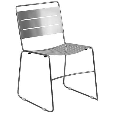 Flash Furniture Hercules Series Indoor-Outdoor Metal Stack Chair, Silver Powder Coat Finish (HA1SIL)