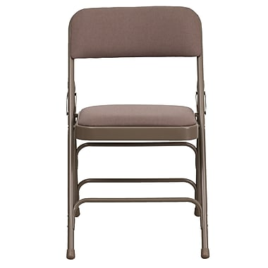 Hercules Series Curved Triple Braced & Double Hinged Metal Folding Chair Beige Fabric Upholstery HAMC309AFBGE