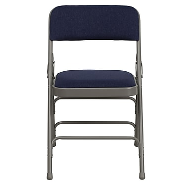 Flash Furniture Hercules Curved Triple-Braced Double-Hinged Fabric Upholstered Metal Folding Chair, Navy (HAMC309AFNVY)