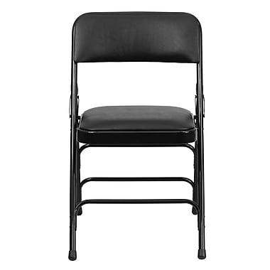 Flash Furniture – Chaise pliante HERCULES en métal à 3 barreaux et à 2 pivots, siège en vinyle noir (HAMC309AVBK)