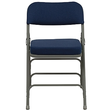 Flash Furniture Hercules Curved Triple Braced Fabric Upholstered Metal Folding Chair in Navy, (HAMC320AFNVY)