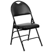 Flash Furniture  Hercules Series Extra Large Ultra-Premium Triple Braced Black Vinyl Metal Folding Chair, 4/Box (HAMC705AV3BK)