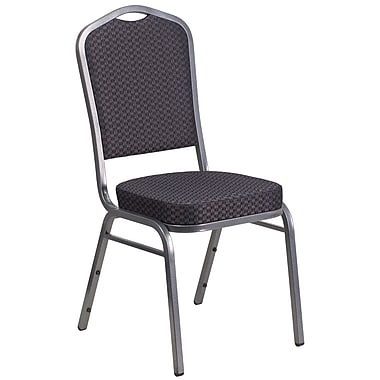Flash Furniture Hercules Crown-Back Stacking Banquet Chair, Black-Patterned Fabric,2.5'' Seat, Silver Vein Frame (HFC01SVE26BK)