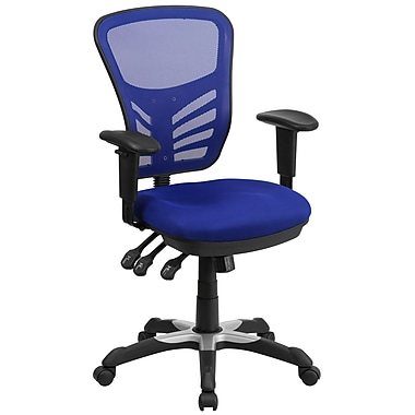 Flash Furniture Mid-Back Mesh Swivel Task Chair with Triple Paddle Control, Blue (HL0001BL)