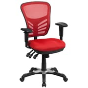 Flash Furniture Mid-Back Mesh Swivel Task Chair in Red with Triple Paddle Control (HL0001RED)