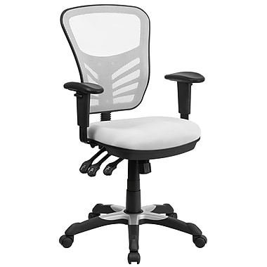 Flash Furniture – Chaise de travail pivotante à dossier mi-hauteur en filet, 3 manettes de commande, blanc (HL0001WH)