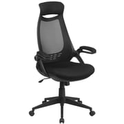 Flash Furniture High Back Mesh Executive Swivel Office Chair, Black with Flip-Up Arms (HL0018)