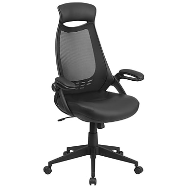 Flash Furniture High-Back Mesh Executive Swivel Office Chair, Black with Leather Padded Seat and Flip-Up Arms (HL0018LEA)