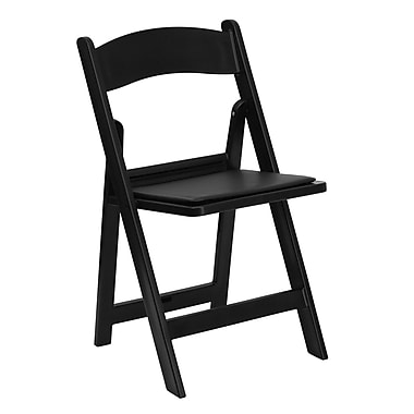Flash Furniture Hercules 1000lb Capacity Resin Folding Chair with Vinyl Padded Seat, Black (LEL1BLACK)