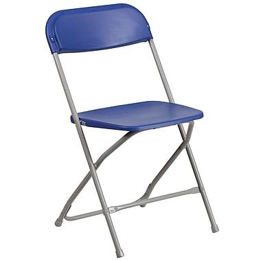 Flash Furniture HERCULES Series 800lb-Capacity Premium Plastic Folding Chair, Blue (LEL3RED)