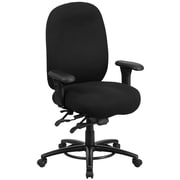 Flash Furniture LQ1BK  Hercules Fabric 24/7 Multi-Shift Big and Tall Multi-Functional Swivel Chair with Foot Ring, Black