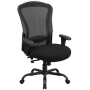 Flash Furniture  Hercules 24/7 LQ3BK Black Mesh Multi-Shift Big&Tall 400lb-Capacity Multi-Functional Swivel Chair, Synchro-Tilt