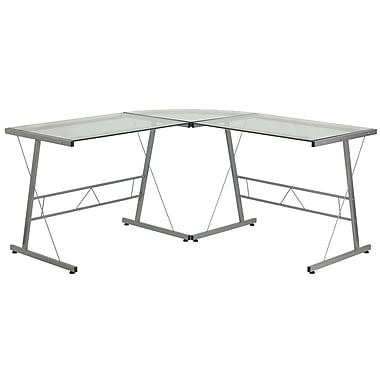 Flash Furniture Glass L-Shape Computer Desk with Silver Frame Finish (NANCD22181)