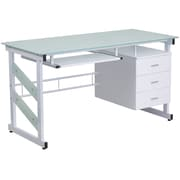 Flash Furniture Computer Desk with 3-Drawer Pedestal, White (NANWK017)
