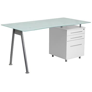 Flash Furniture – Bureau d'ordinateur avec surface en verre et caisson 3 tiroirs, blanc (NANWK021)