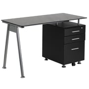 Flash Furniture Black Glass Computer Desk with 3-Drawer Pedestal (NANWK021A)