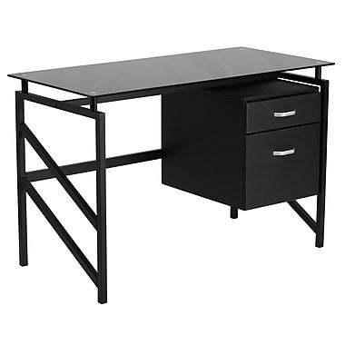 Flash Furniture – Bureau en verre avec caisson à deux tiroirs, structure noire au fini poudré