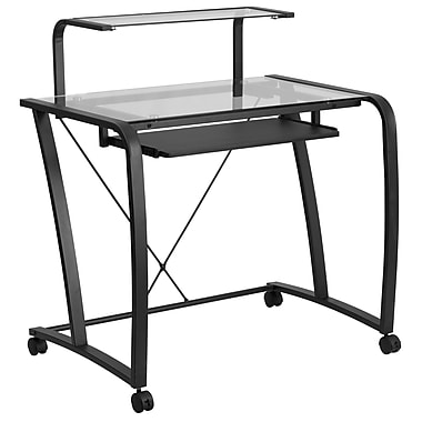 Flash Furniture Mobile Glass Computer Desk with Pull-Out Keyboard Tray and Monitor Platform (NANWK053)