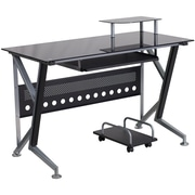 Flash Furniture Glass Computer Desk with Pull-Out Keyboard Tray and CPU Cart, Black