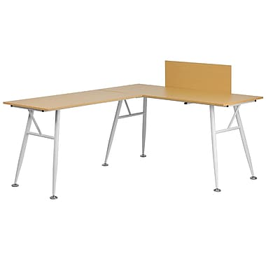 Flash Furniture – Bureau d'ordinateur en L en stratifié hêtre et à structure blanche